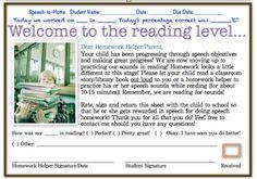 Reading Level Homework from Heard In Speech blog - my new favorite Speechie site!