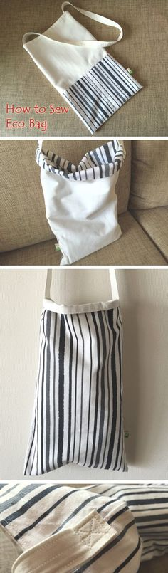 Easy  Reusable Grocery shopping Bag photo Tutorial.  http://www.handmadiya.com/2016/06/how-to-sew-double-sided-eco-bag.html