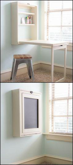 DIY Murphy Craft Table http://diyprojects.ideas2live4.com/2015/12/17/murphy-craft-table/ If you've got limited space, anything that offers some space-saving, efficiency or functionality is a great idea. This DIY desk is a great option for a super-compact home office or crafts space. You can modify the shelves and the size of the entire unit to suit any purpose. It is multi-functional, too, as it can serve as a chalkboard or a even mirror! Do you need this for your work space?