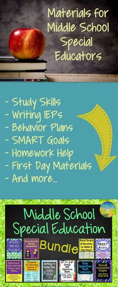 Middle school special education bundle: Writing IEPs, Smart goals, writing behavior plans and FBAs, teaching study skills and executive functioning skills, and more.