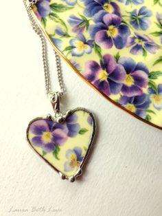 Broken china jewelry purple pansy chintz heart shaped necklace pendant purple and light yellow porclain
