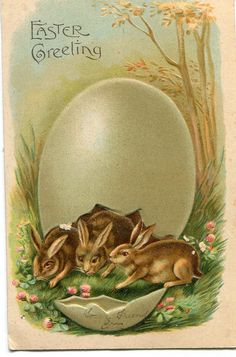 Easter Greetings Bunny Rabbits under Big by sharonfostervintage, $3.50