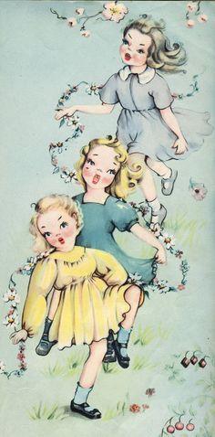 Charming vintage print of three girls