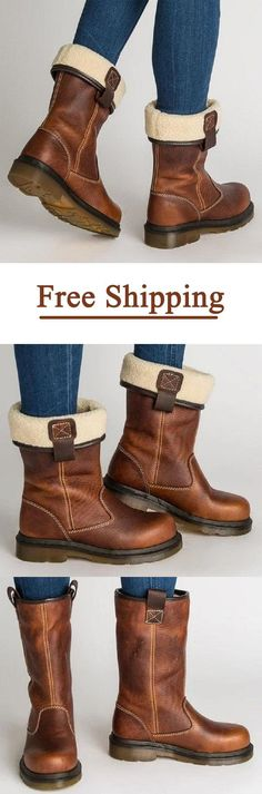 Shoespie Brown Stylish Slip-On Motorcycle Ankle Boots Heeled Boots, Shoe Boots, Shoe Bag, Winter Leather Jackets, Ankle Snow Boots, Boating Outfit, Stylish Boots, Bean Boots, Shoe Closet