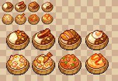 Pixel Art Food, Anime Pixel Art, Pixel Art Games, Piskel Art, Pixel Drawing, Cute Food Art, 8bit Art, Pixel Pattern, Food Icons