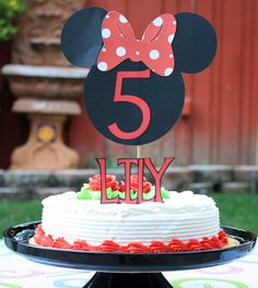 Minnie Mouse Cake Topper - Mickey Mouse Clubhouse Colors Customizable Super Cute, Fun, Unique for Birthday Parties, Baby Showers. $12.00, via Etsy.
