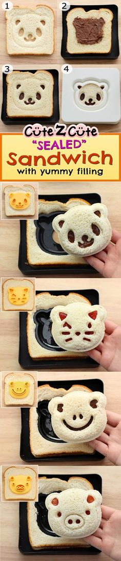 Idea for Bento Sandwiches. Use a healthy bread & spread? Sealed Pocket Sandwich filled with yummy Strawberry Jelly and Nutella Cute Food, Good Food, Yummy Food, Bento Recipes, Baby Food Recipes, Toddler Meals, Kids Meals, Cute Bento, Kawaii Bento