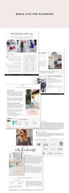 Blogger Media Kit examples | designed by Victoria McGinley Studio