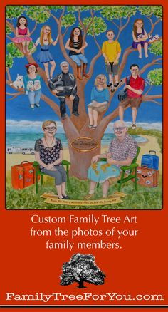 Custom Family Tree Portrait Painting Commissioned As A Fun And Unique Surprise Gift For Couples Golden Wedding Anniversary