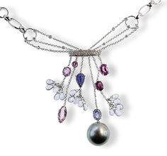 Withegold Necklace with Tahiti Pearl   Weissgoldcollier mit Tahitiperle, Brillanten 0,865ct, Aquamarine 5,240ct, Saphir-Tropfen 1,425ct Turmaline