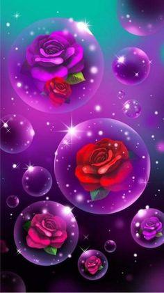 Wallpaper… By Artist Unknown… - Bildung Heart Iphone Wallpaper, Flower Phone Wallpaper, Purple Wallpaper, Butterfly Wallpaper, Cellphone Wallpaper, Wallpaper Backgrounds, Beautiful Flowers Wallpapers, Pretty Wallpapers, Bubble Art