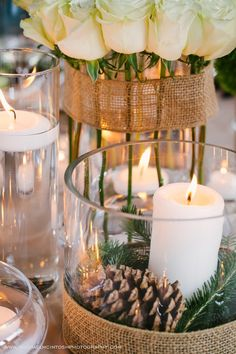 Everyone loves candles because they create a cozy and warm atmosphere everywhere, and I think there's no more appropriate thing for winter wedding décor than candles. Candles are awesome for centerpieces. Unique Centerpieces, Fall Wedding Centerpieces, Winter Wedding Decorations, Centrepieces, Winter Wedding Receptions, Rustic Wedding Reception, Winter Weddings, Reception Ideas, Pine Cone Wedding