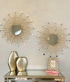 Gold Sunburst Mirror, Sun Mirror, Mirror Wall Art, Mirror Set, Diy Home Crafts, Diy Home Decor, Wall Decor Crafts, Mirror Crafts, Living Room Decor Cozy