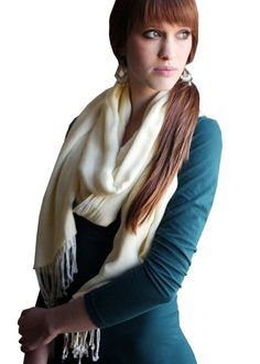 Women's Luxurious Reversible Scarf Oversize Pashmina Shawl with Tassels (Sapphire Blue / Tea Green) at Amazon Women's Clothing store: Fashion Scarves