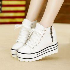 Nueva Moda Para Mujer de Tacón Alto Plataforma Zapatos de Lona Ascensores Blanco Negro High Top Casual Zapatos de Mujer con Cremallera