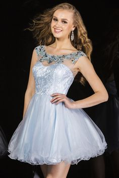 USD 136.99 Bateau Homecoming Dress A Line Short/Mini With Beads Tulle And Lace