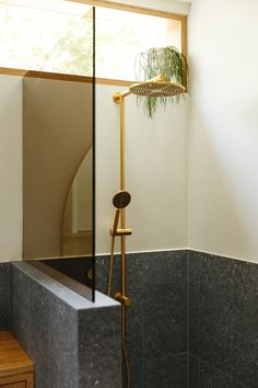 This Home Was Made More Spacious—Without Changing the Original Footprint | Architectural Digest One Piece Shower, Pop And Scott, Modern Small Bathrooms, Dream Bathrooms, Custom Mirrors, Complete Bathrooms, Shower Units, Glass Shower Doors, Half Glass Shower Wall