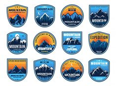 Premium Vector | Outdoors nature badges. adventure emblem, vintage wilderness label and outdooring camping badge illustration set Hiking Club, Camping And Hiking, Camping Icons, Outdoor Logos, Nature Adventure, Adventure Camp, Mountain Climbing, Forest Mountain, Badge Template