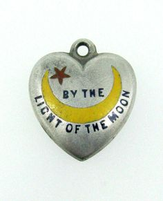 Puffy Heart Sterling Enamel 'By The Light Of The Moon' Charm | eBay
