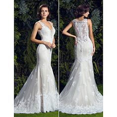 Trumpet/Mermaid V-neck Chapel Train Lace Wedding Dress (1611806) – KRW ₩ 571,114