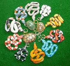 Snake and Turtle Jewelry and Ornaments made of Polymer Clay from Caraway Creek Design / Tammy Mabe