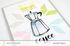 """This card used stamp sets """"Coffee Love"""", """"Coffee Talk"""" and """"Simple Shapes"""". Add these stamp sets to your collection and start creating your own project. Visit our blog for more information. http://www.altenew.com"""