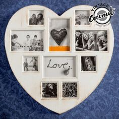 Surprise your partner with an original and romantic gift such as the Vintage Coconut Heart photo frame photos)! A heart-shaped multiple photo frame with space for 4 photos of 15 x 10 cm and 6 photos of 8 x 8 cm. Made of plastic. It includes 2 . Vintage Photo Frames, Vintage Photos, Foto Vintage, Multiple Photo Frames, Vintage Decor, Vintage Antiques, Photo Store, Photo Heart, 6 Photos