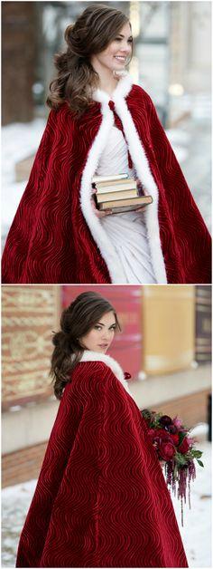 Winter wedding fashion, red velvet cloak, white fur lined cape, curly bridal hair // Melissa Sigler Photography