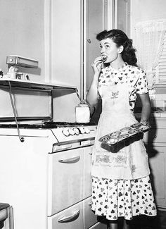 Ann Blyth samples on her homemade goodies. vintage actresses cooking domestic_life