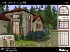 """""""Sutton Windows Part 1"""" by Mutske. Subscriber only. Set consists 24 windows including 1 & 2 tile centered windows to place in 2 and 3 panel walls.  Recolorable."""