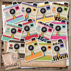 For my Smash book! U printables by RebeccaB: FREEBIE printable - Polaroid Cameras Project Life, Smash Book, Instagram Party, Paper Crafts, Diy Crafts, Silhouette Cameo, Polaroid Cameras, Printable Paper, Copics