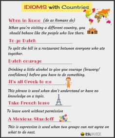 Take French leave, To go Dutch, Dutch courage, It's all Greek to me, ...