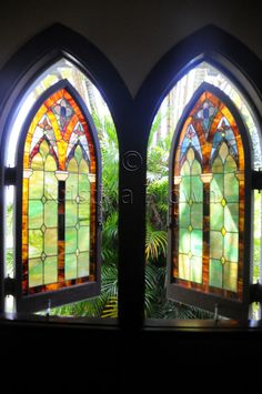 Travel Photography Church Palm Trees Hawaii Photo Stained Glass Window Photograph Colorful Windows Picture by SilverBirdBoutique