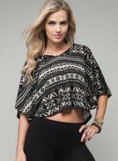 Snowflake Pattern Hooded Knit Sweater,  Sweater, hooded crop sweater, Bohemian (Boho) / Hippie