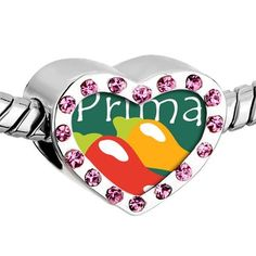 Pugster Pink Swarovski Crystal Hot Chile Prima Cousin Photo Heart Silver Plated Beads Fits Pandora Charm Chamilia Biagi Bracelet Pugster. $16.49. Color: Silver tone, light rose. Size (mm): 12.95*7.4*10.31. Metal: Metal, crystal. Weight (gram): 2.8