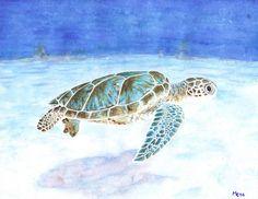 """Aquarelle originale """"Tortue marine""""   Tortue franche en train de nager dans des eaux turquoise   Peinture par Savousepate"""