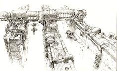 M.C.Barrett Concept Art: My hand hurts. Cool Sketches, Drawing Sketches, Art Drawings, Sketching, Art Cyberpunk, Spaceship Design, Prop Design, Matte Painting, Ink Illustrations