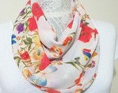 Woman Infinity scarf, Circle Scarf, Loop Scarf, Scarves, Shawls, Spring-Fall-Winter-Summer fashion, Woman Fashion, flowered scarf, red blue