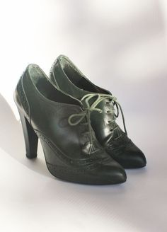 e482f08cb07b ZARA GREEN HIGH HEEL OXFORDS Genuine Leather Lace Up Brogue Booties Shoes  Pumps
