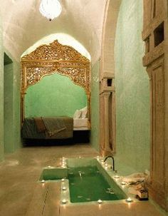 a candlelit bath and a glorious day bed - so private - Riad Dar Sabri, Tunisia by iness Moroccan Bathroom, Moroccan Decor, Moroccan Style, Modern Bathroom, Bathroom Interior, Small Bathroom, Bathroom Ideas, Minimalist Bathroom, Bathroom Remodeling