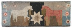 Update ; Late 19th c. New England hooked rug depicting a central star flanked by a red and a white horse and stylized flowers, bordered ~♥~
