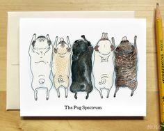 Cute Pug Card Pugs in a Row Pug Spectrum Pug Rainbow by InkPug, $3.95