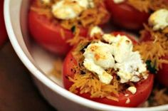Orzo and Chicken Stuffed Tomatoes with Goat Cheese
