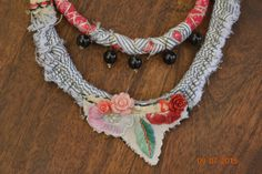 Fabric handmade necklace, Gipsy, gentle , natural jewelry combined with vintage embroidery.