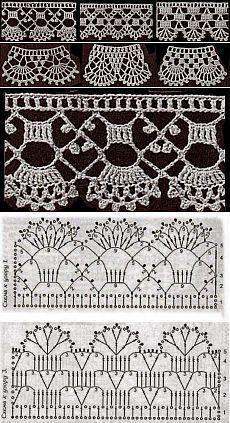 How to crochet a flower . How to crochet a flower with caterpillar petals. Crochet Border Patterns, Crochet Lace Edging, Crochet Motifs, Crochet Diagram, Crochet Squares, Crochet Designs, Crochet Flowers, Crochet Stitches Chart, Filet Crochet