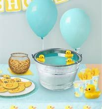 floating ducks in punch. Love the pail. Cute baby shower idea!