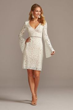 White lace bell sleeve dress with V neck for a bride to be #affiliate #weddingdresses #whitedresses #shortweddingdress #microwedding