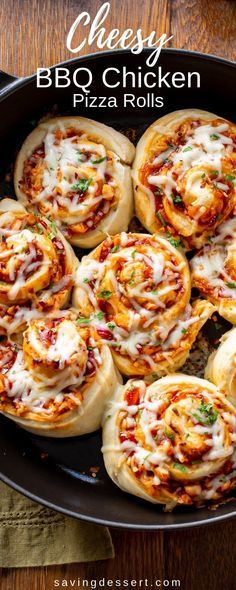 Bring on the party! I've got the BEST recipe for amazing Cheesy BBQ Chicken Pizza Rolls right here #savingroomfordessert #pizza #pizzarolls #bbqchickenpizza