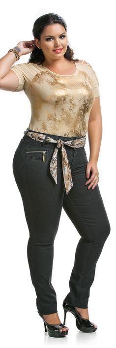 Calça Plus Size Skinny Jeans com Cinto de Tecido Jeans Black $162.90 - LunenderStore.com