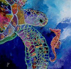 Sea turtle and fish 8x8 art print kauai hawaii for Turtle fish paint